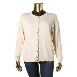 Karen Scott Womens Plus Heathered Ribbed Trim Cardigan Top - 0X