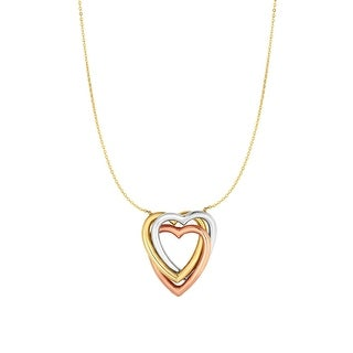 Mcs Jewelry Inc 10 KARAT TRICOLOR, YELLOW WHITE AND ROSE GOLD, TRIPLE OPEN HEART PENDANT NECKLACE (17 INCHES) - Multi