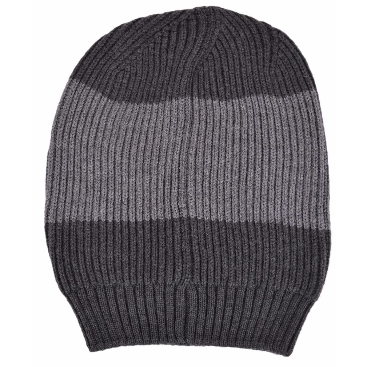 f41e73479 Gucci Men's 310777 Grey Wool Colorblock Interlocking GG Slouchy Beanie Hat
