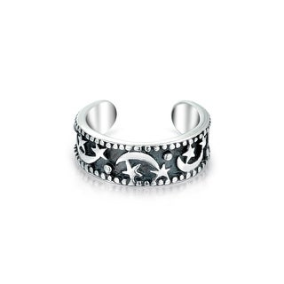 Bling Jewelry 925 Silver Celestial Moon and Stars Ear Cuff Band One Piece