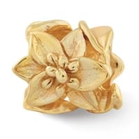 Sterling Silver Reflections Gold-plated Plumeria Floral Bead (4mm Diameter Hole)