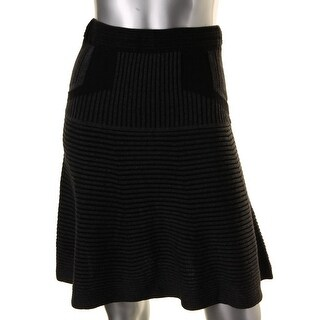 Studio M Womens Juniors Flounce Skirt Ribbed Knit STRETCH