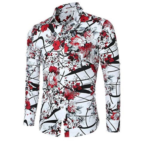 Mens Casual Shirt Long Sleeve Floral Stylish Slim Fit Button Down Dress Shirt