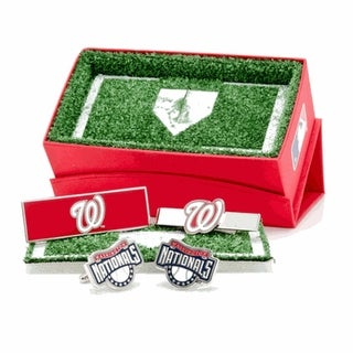Washington Nationals Cufflinks, Money Clip and Tie Bar Gift Set MLB - Red