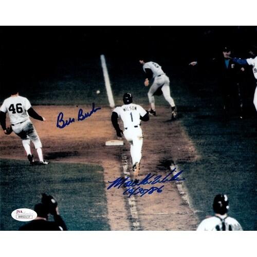 Bill Buckner Mookie Wilson Autographed Boston Red SoxNew York Mets 8x10 photo JSA
