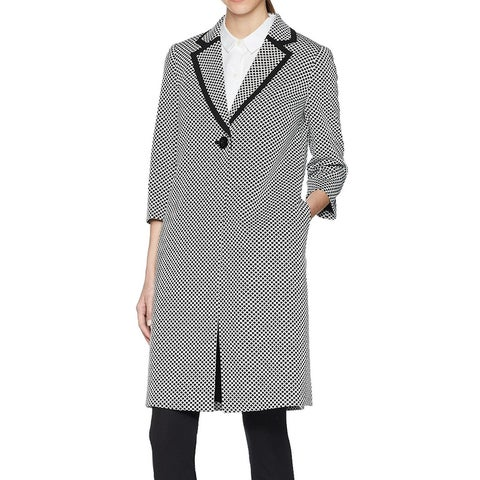 Kasper Womens One Button Dot Patter Contrast Coat