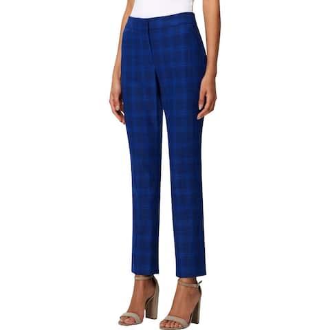 Tahari ASL Womens Trouser Pants Plaid High Rise - Navy Plaid - 2