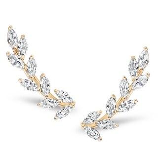 Humble Chic Crystal Leaf Ear Climbers - Simulated Diamond Flower Crawler Cuff Stud Earrings