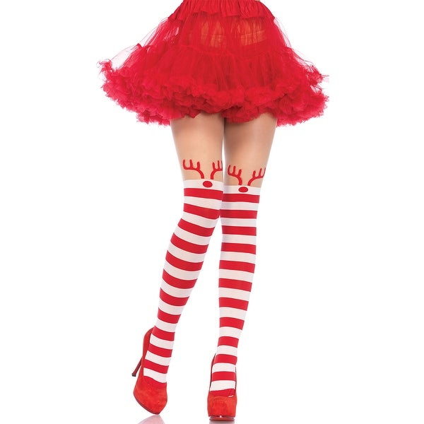 Rudolph Striped Pantyhose, Red And White Striped Pantyhose