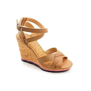 Splendid Sage Women Open Toe Leather Wedge Sandal