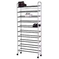 Costway 10-Tier 50 Pairs Rolling Shoe Rack Tower Storage Organizer Free Standing W/Wheel