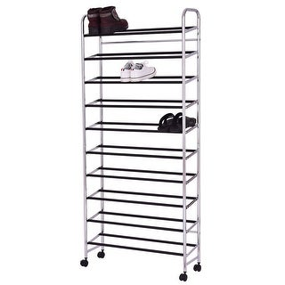 Costway 10 Tier 50 Pairs Rolling Shoe Rack Tower Storage Organizer Free  Standing W/