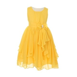Little Girls Yellow Chiffon Bow Sash Flower Girl Easter Dress 4-6
