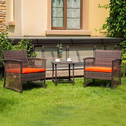 Greenview Outdoor 3-piece Wicker Bistro Patio Set