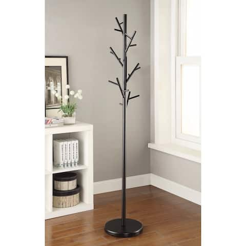 Shiny Twig Style Metal Coat Rack, Black