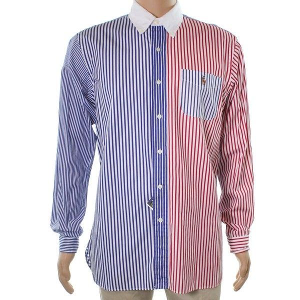 72c447c24d Shop Ralph Lauren White Mens Size XL Standard Button Down Striped Shirt - Free  Shipping Today - Overstock.com - 22385312