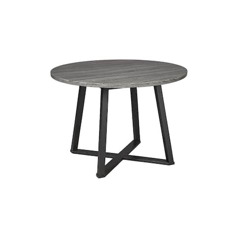 Centiar Round Dining Room Table, Gray/Black - 41.97W x 41.97D x 30.31H - 41.97W x 41.97D x 30.31H