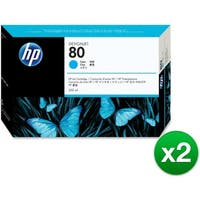 HP 80 350-ml Cyan DesignJet Ink Cartridge (C4846A) (2-Pack)