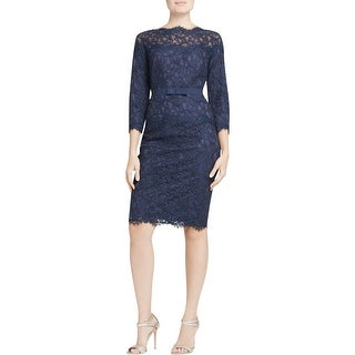 Tadashi Shoji Womens Petites Cocktail Dress Lace 3/4 Sleeves