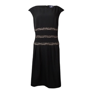 American Living Women's Lace Trimmed Pleated Dress - 12
