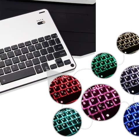 Ultra Thin Folio Cover With Removable Bluetooth Keyboard With 7Color Backlit