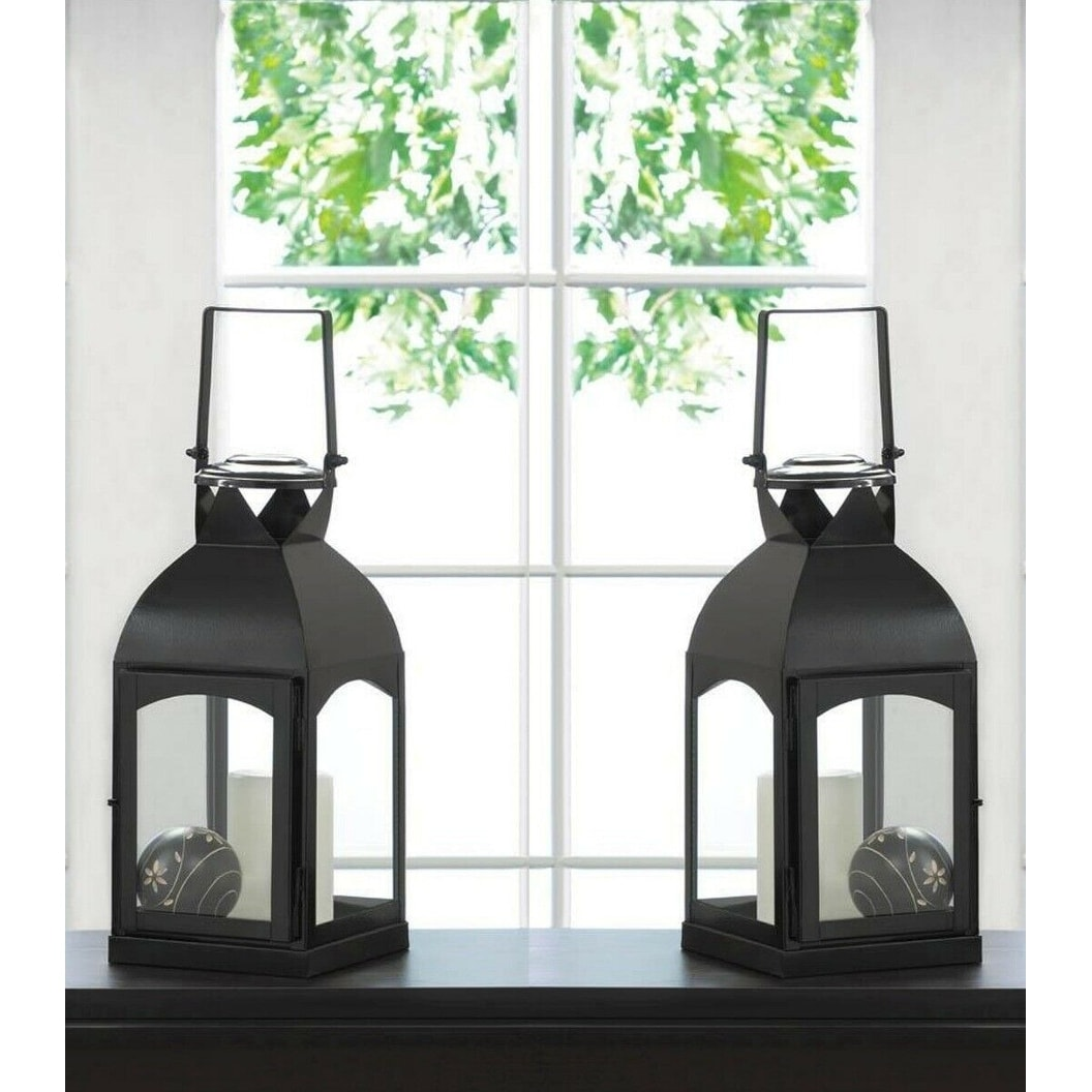 Black Domed Pillar Candle Lanterns w// Clear Glass 1 Large 1 Medium