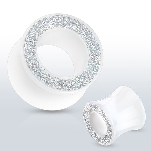 Glittery Rim Solid White Acrylic Saddle Fit Tunnel (Sold Individually)