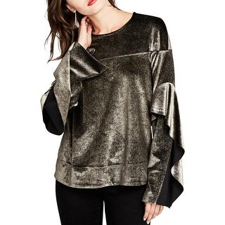 Rachel Roy Womens Blouse Metallic Ruffled - s