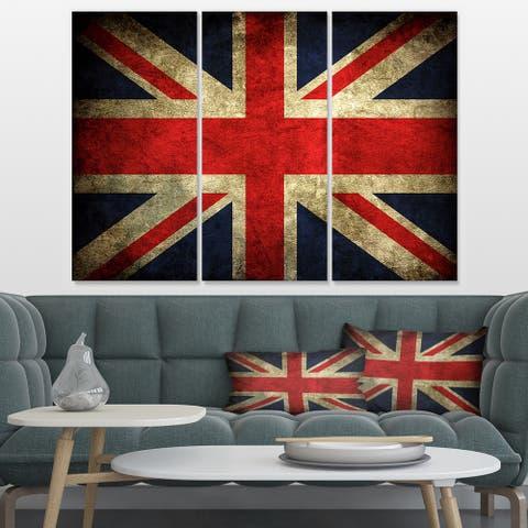 Designart 'Vintage UK Flag' Contemporary Canvas Art Print - 36x28 - 3 Panels