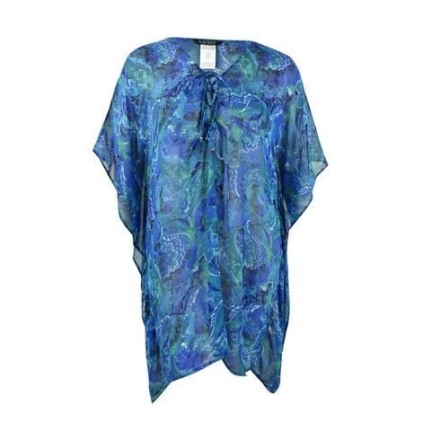 Lauren by Ralph Lauren Women's Plus Size Exotic Paisley Tunic Swim Top Cover-Up - Blue