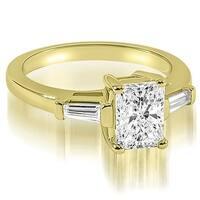 1.00 cttw. 14K Yellow Gold Emerald Baguette Three Stone Diamond Engagement Ring