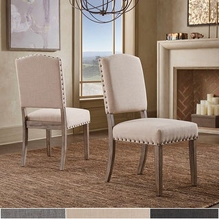 Link to Benchwright Grey Oak Linen-Look Chairs (Set of 2) by iNSPIRE Q Artisan Similar Items in Dining Room & Bar Furniture