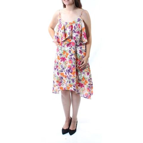 BCBGENERATION Womens Ivory Floral Sleeveless Jewel Neck Knee Length Blouson Dress Size: S