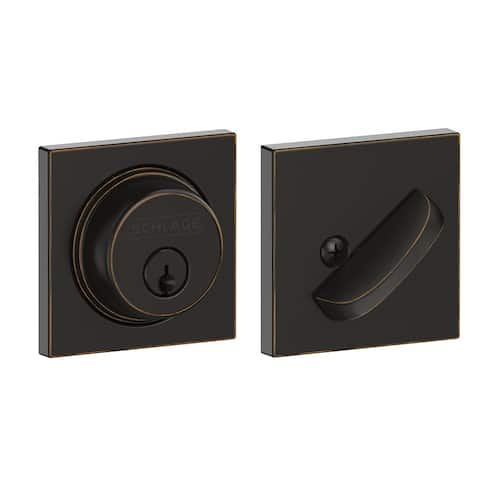 Schlage B60N-COL Single Cylinder Keyed Entry Grade 1 Deadbolt with Decorative Collins Rose from the B-Series