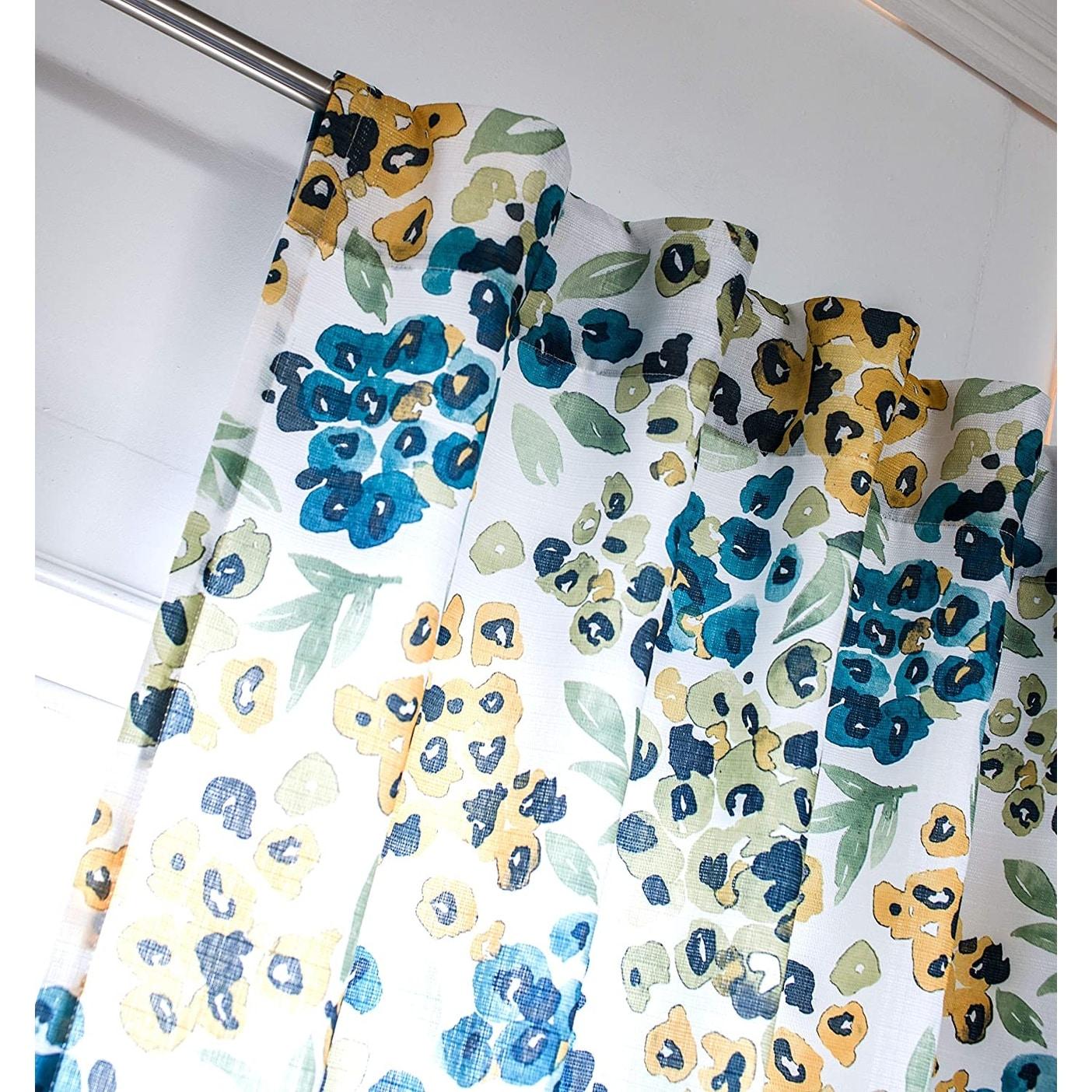 Driftaway Oliver Watercolor Flower Botanical Pattern Semi Sheer Rod Pocket Window Curtain 52 Width X 84 Length Overstock 32013959