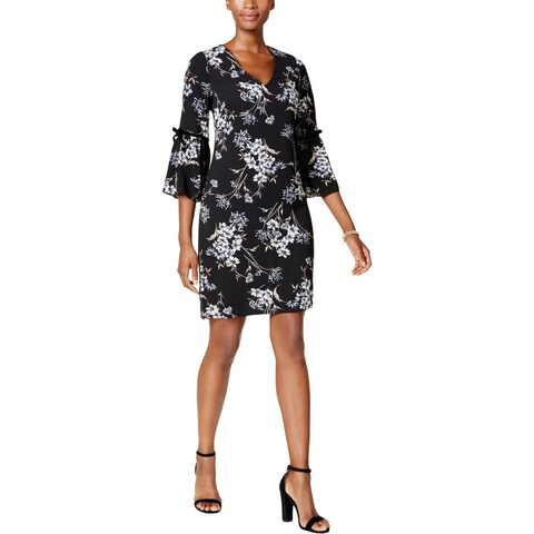 Jessica Howard Womens Petites Party Dress Floral Print Flutter Sleeves