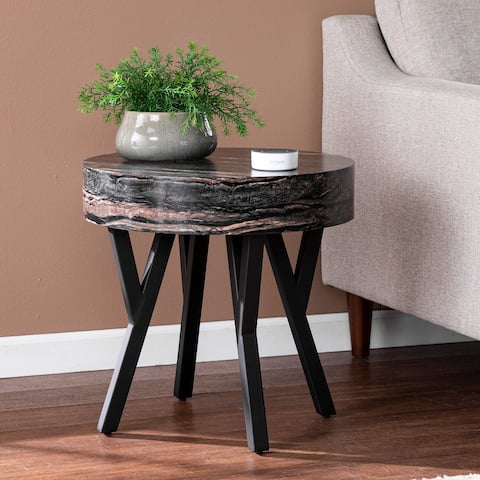 Strick & Bolton Tabard Contemporary Black Faux Stone End Table