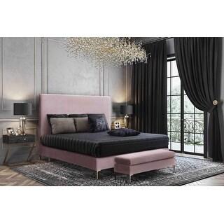 Link to Delilah Blush Textured Velvet Bench Similar Items in Living Room Furniture