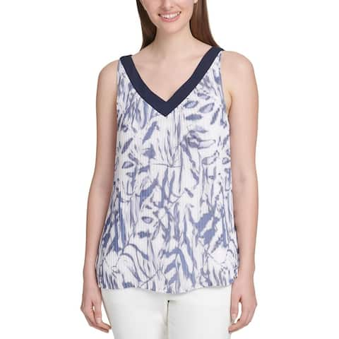 DKNY Womens Blouse Pleated V-Neck - White/Blue