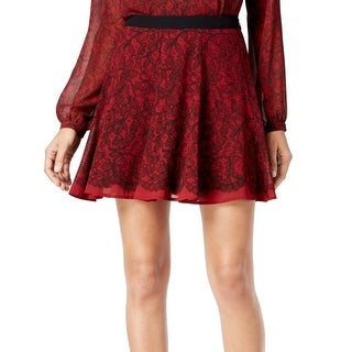 MICHAEL Michael Kors NEW Red Womens Size 0 Printed Chiffon A-Line Skirt