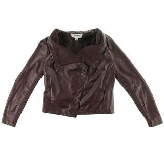 BB Dakota Womens Faux Leather Open Front Jacket