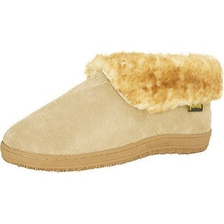 Old Friend Slippers Mens Sheepskin Bootee Extra Wide Chestnut 421207