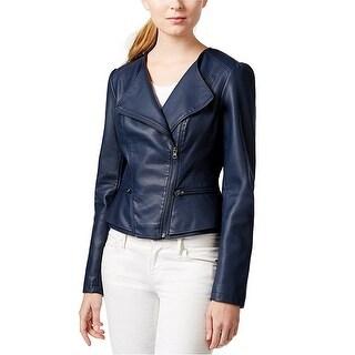 Maison Jules Peplum Moto Faux Leather Jacket Coat - XS