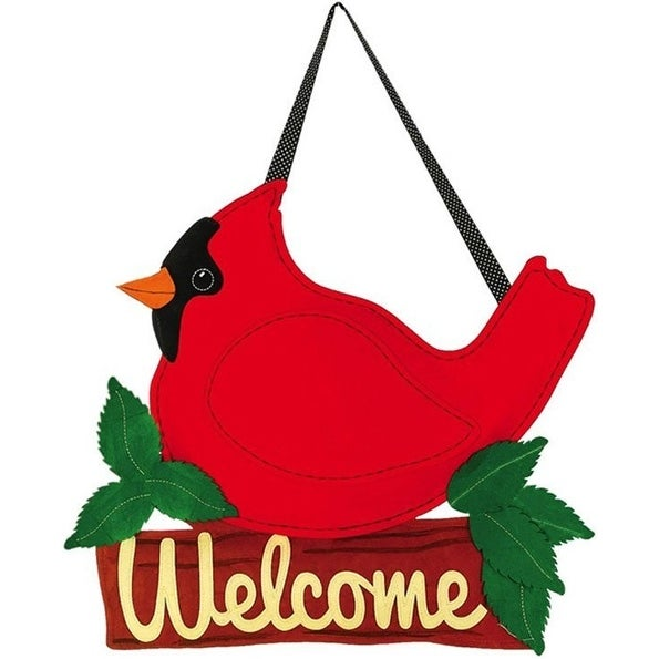 Evergreen 2DHF1024 Cardinal Christmas Door Decoration, Red/Green