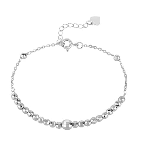 Handmade Sparkling Graduated Disco Ball Link Sterling Silver Cable Chain Bracelet (Thailand)