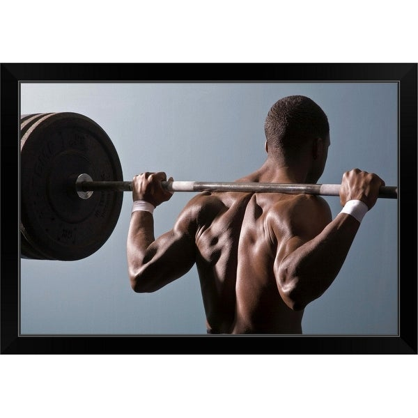 """""""Man working out the gym"""" Black Framed Print"""