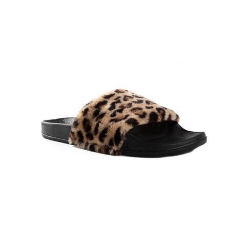 Faux Sheepskin Slides - Leopard w/Black Sole - Size 5/6