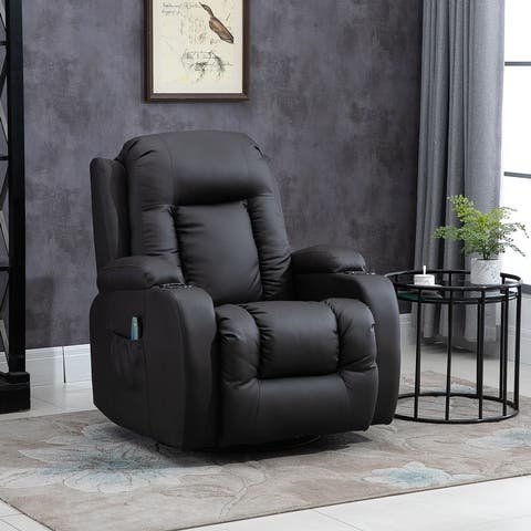 HOMCOM Luxury Faux Leather Heated Vibrating 8 Point Massage Recliner Chair with 360 Swivel and Remote