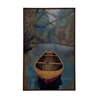 GuildMaster 162514 48 Inch x 30 Inch River Boat Framed Hand-Painted Art on Canvas - N/A