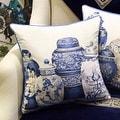 """Luxury Blue Four Vase Printing Pillow 18""""X18"""" - Thumbnail 0"""